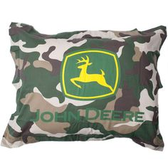 John Deere Camo Standard Sham (26 CAD) ❤ liked on Polyvore featuring home, bed & bath, bedding, bed accessories, john deere bedding, camouflage bedding, camo bedding, camoflauge bedding and john deere