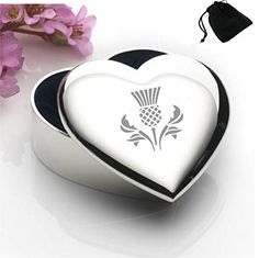 Lapal Dimension Silver Plated Heart Shaped Trinket Box With Scottish Thistle Design and Black Gift Pouch Our Silver Plated Heart Trinket Box helps keep her particulars all safe and sound on her dressing table. The black fabric-lined interior will ensure her most precious jew (Barcode EAN = 5054505183039) http://www.comparestoreprices.co.uk/december-2016-6/lapal-dimension-silver-plated-heart-shaped-trinket-box-with-scottish-thistle-design-and-black-gift-pouch.asp