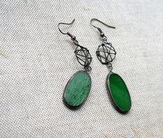 Beautiful pieces!  Dangle green earrings Statement jewelry Fall Colors by ArtKvarta.