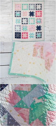 Magic Stars Quilt Kit by Sarah Jane featuring Michael Miller Magic Fabric | Craftsy. Star quilt kit. Modern quilt. Sawtooth star quilt. Affiliate link.