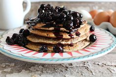 Simply Oat Pancakes & Blueberry Compote are healthy and delicious. A recipe that is sure to keep your taste buds satisfied and your waistline; made with only 5 ingredients!