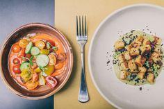 Pan fried kipfler potato gnocchi & Heirloom tomato, baby cucumber and gazpacho