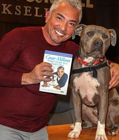 """In Los Angeles at the Grove, Cesar Milan attends a book reading and signing of his new book, """"Short Guide to a Happy Dog,"""" with his dog, Junior."""