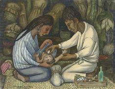 Curanderismo is the Meso-American system of healing.  Art: Diego Rivera, El curandero
