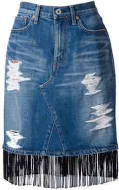 Junya Watanabe Fringed Denim Skirt in Blue