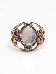 Moonstone Engraved Ring | Engraved copper ring with gorgeous moonstone center. A majestic statement piece.  *By Tiger Mountain