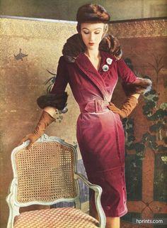 Jacques Fath 1950 Robe redingote, Guillemin, Vison, Clip Scémama, Photo Pottier
