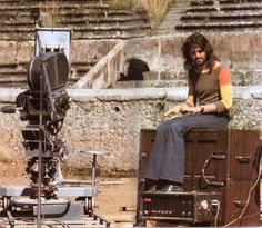 Rick Wright taking a few minutes to ponder while the stage setup goes on for the original Pink Floyd Live at Pompeii Concert