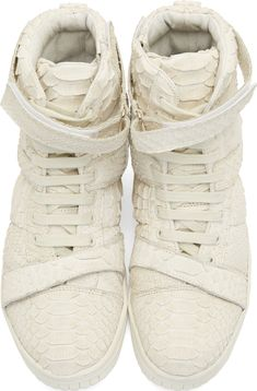 Christian Peau Off-White Python High-Top Sneakers