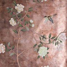 Pair this striking hand-painted wallpaper with accents in pale pink and rich green. 'Badminton', at de Gourney