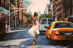 "Saatchi Art Artist thomas saliot; Painting, ""NYC bike and car"" #art"