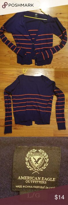 Navy blue and orange striped sweater American Eagle lightweight sweater with orange stripes. Worn only twice. Buttons are all there. No stains. 2 front pockets American Eagle Outfitters Sweaters Cardigans