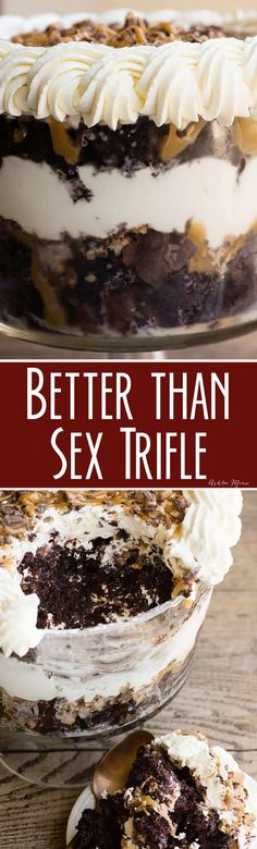 Better than sex trifle. Better made the day before. ooey gooey deliciousness that's easy to make - better than sex trifle Dessert Oreo, Low Carb Dessert, Trifle Desserts, Mini Desserts, Christmas Desserts, Easy Desserts, Delicious Desserts, Trifle Cake, Dessert Party