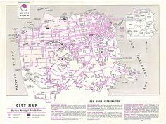 San Francisco Municipal Railway Tours of Discovery / City Map Showing Municipal Transit Lines (1954)