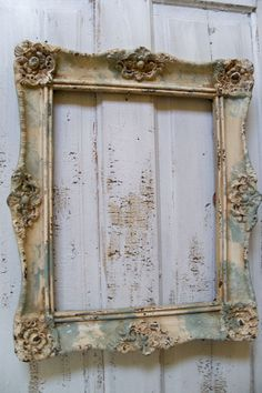 Ornate wall frame large cream sea foam by AnitaSperoDesign on Etsy, $150.00