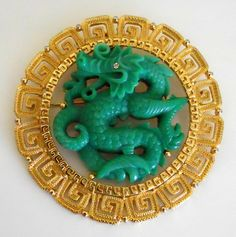 HATTIE CARNEGIE Huge Asian Dragon Faux Jade Gold Tone Vintage Brooch Pin Pendant