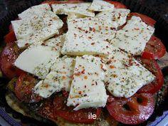 ile recetas: Pizza de berenjenas  berenjenas grilladas, rodajas de tomate y cubrir con queso