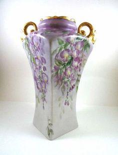 Elegant Victorian Vase Hand Painted by MemoriesofYesterday on Etsy