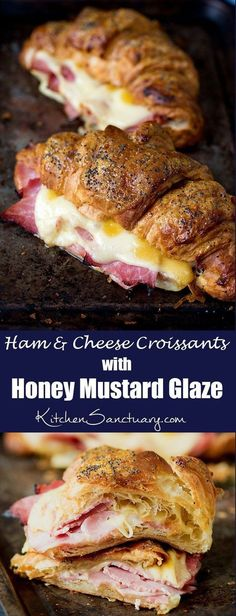 Ham and Cheese Croissant with Honey Mustard Glaze - a simple but delicious Mother's Day Breakfast! day dinner food Ham and Cheese Croissant with Honey Mustard Glaze Ham And Cheese Croissant, Croissant Sandwich, Soup And Sandwich, Sandwich Recipes, Breakfast Croissant, Breakfast Ham, Sandwich Ideas, Healthy Recipes, Gastronomia