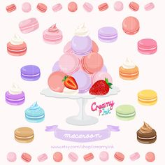 Macaroon Digital Vector Clip Art Macaron Sweets Clipart Design Illustration French Pastry Macaroons Macarons Download