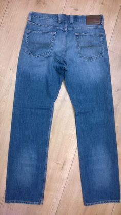 Men TOMMY HILFIGER Denim MADISON Straight Fit Mid Blue Jeans Size 34/34 Zip Logo