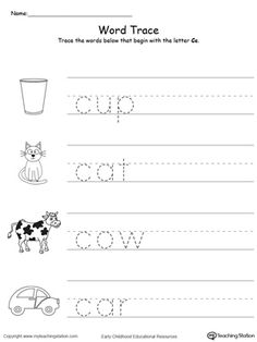 **FREE** Trace Words That Begin With Letter Sound: C Worksheet. Teach the beginning letter sound by tracing and saying the name of the matching picture while providing opportunities for your child to improve their fine motor skills in this printable worksheet.