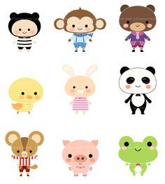 Cute Animals Set No1 DIGITAL CLIP ART for by Giftseasonstore, $2.00