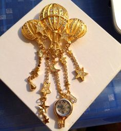 Vintage Kirk's Folly Hot Air Balloon Brooch with by luvintage