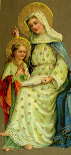 St. Anne teaching the young St. Mary, future mother of the Savior