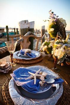 Gorgeous nautical place setting & pumpkin soup served in pumpkins + rustic table setting | Fall + ...