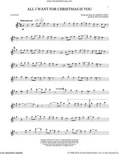 All I Want for Christmas is You: For alto saxophone by Mariah Carey, Walter Afanasieff Alto Sax Sheet Music, Saxophone Music, Violin Sheet Music, Sheet Music Notes, Piano Music, Tenor Sax, Music Sheets, Virtual Sheet Music, Christmas Sheet Music