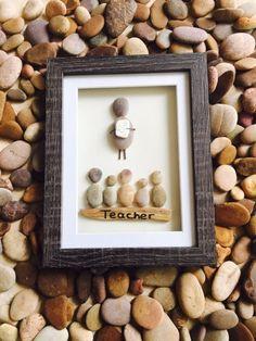 For the Teacher - Handmade Pebble Art Picture - Wood/Wooden Frame