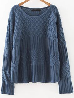 29$  Buy here - http://di58k.justgood.pw/go.php?t=8483 - Blue Diamond Pattern Round Neck Sweater 29$