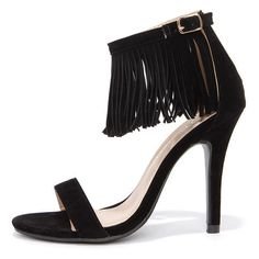 Fringe Forward Black Fringe Heels ($31) ❤ liked on Polyvore featuring shoes, black, stilettos shoes, black stiletto shoes, black ankle strap shoes, boho shoes and rubber sole shoes