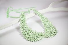 Mint Green Flower Embroidered Peter Pan Collar by SHECHICEXCLUSIVE, $20.00