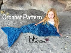 Mermaid Tail Blanket with Loops - PATTERN ONLY - Crochet - Size: Toddler, Child…