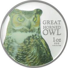 2 Dollar Silber Greifvögel - Virginia-Uhu PP