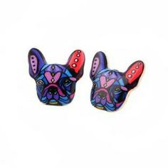 Colorful French Bulldog Earrings for Women
