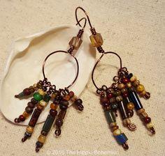Copper Beaded Bohemian Earrings Copper by TheHippieBohemian