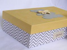 Caixa Maternidade G cinza amarelo Urso