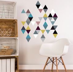 45 Modern Art Multi Color Triangle Geometric Adhesive Fabric Wall Decals.  Removable, Repositionable