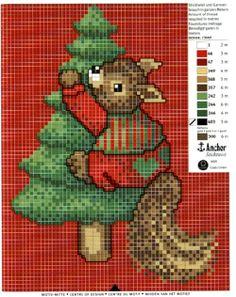 Squirrel Christmas tree cross stitch
