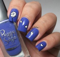 The Clockwise Nail Polish: Peggy Sage Blue Temptation & Flower Nail Art