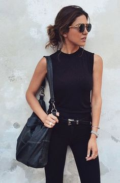 All black everything, casual street style, black tank, black denim, black belt, white oversized black purse: