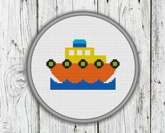 Colorful Little Ship Counted Cross Stitch by CrossStitchShop