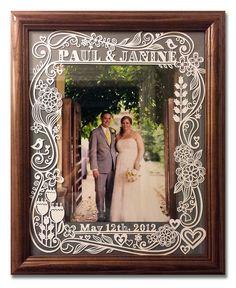 Paul and Janine. Paper-cut Photo Frame by Julene Harrison