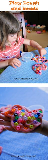 Play Dough and Beads... fine motor skills and hand strengthening