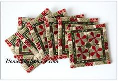 Set of 8 Coasters adorned with Palestinian Embroidery [color options available]