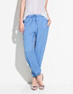 DRAWSTRING DENIM PANTS 20 These look super comfy for Spring.