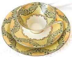 vintage teacup trio german porcelain tea cups german teacup yellow teacup johann seltmann yellow tea cup 121